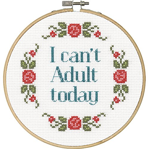 "Say It! Can't Adult Counted Cross Stitch Kit-6"" Round 14 Cou"