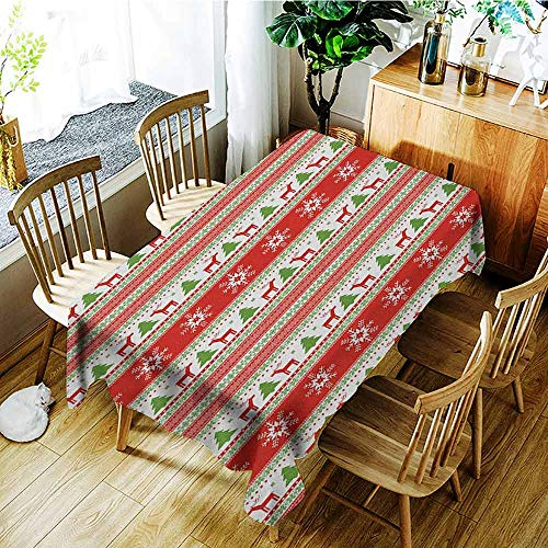 XXANS Small Rectangular Tablecloth,Christmas,Traditional Reindeer Xmas Tree Snowflake Border Knitted Seem Pattern,Party Decorations Table Cover Cloth,W54x72L Vermilion Green White