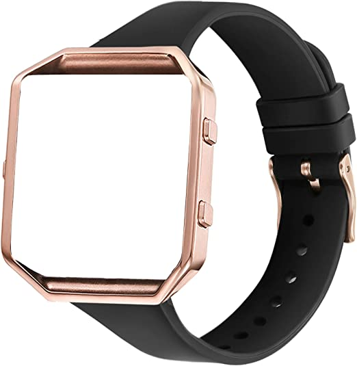 Amcute Compatibe for Blaze Band Slim Narrow Thin Silicone Replacement Wristband with Metal Frame for Blaze Bands Women Men Small Large BlackBlack2, Large
