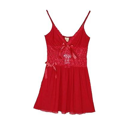 DEI QI Pijama de Encaje Sexy para Mujer Tentación para Ropa Interior de Honda Falda Transparente