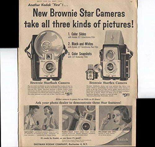 Eastman Kodak Brownie - Eastman Kodak Company New Brownie Star Cameras Take All Three Kinds Of Pictures jBrownie Starflash Camera 1957 Vintage Antique Advertisement