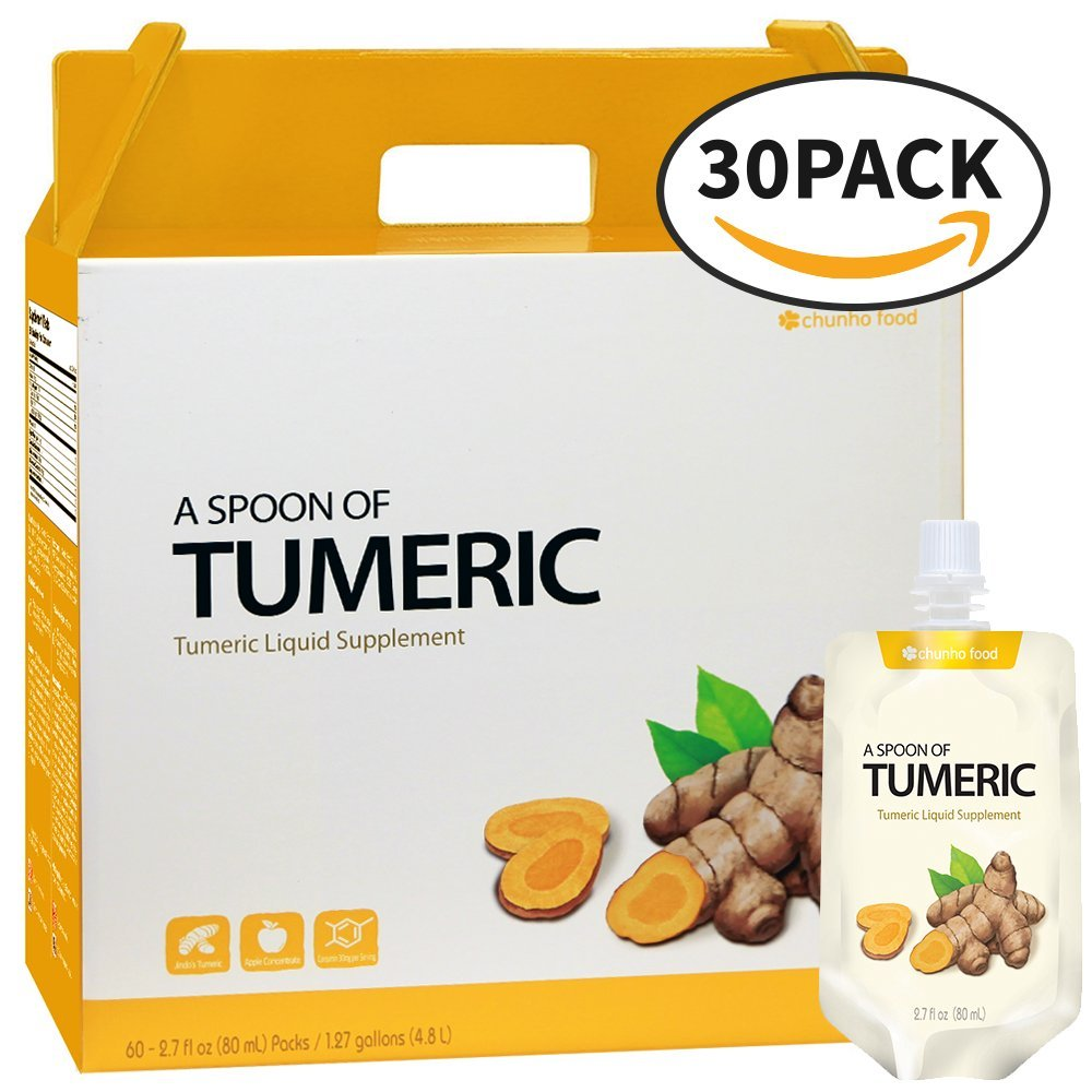 Chunho Food A Spoon of Tumeric Original Flavor Liquid Supplement. Anti-Inflammatory, Antioxidant Effect. Great for Cold, Fever, Heartburn, Arthritis. No Preservatives & Artificial Additives. [30 Pack]