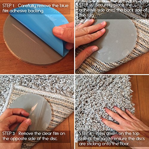 Amazon.com: Sticky Discs Non Slip Rug Pads For RUG ON FLOOR Anti Slip. Rug  Stickers. No Residue. 8 Pack. Limits MEDIUM/LARGE Rugs/Exercise/Door Mats  From ...