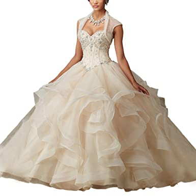 6e774a29036 Abaowedding Women s Corset Sweet 16 Ball Gowns Puffy Quinceanera Dresses US  2 Champagne