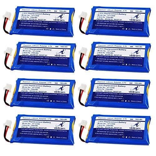 VINTRONS, Plantronics CS50 Battery, 65358-01, 64327-01, 64399-01, Battery for Plantronics CS50, CS55, CS60, Savi 710, Savi W720, 65358-01, 64327-01, 64399-01, (8 Pack)
