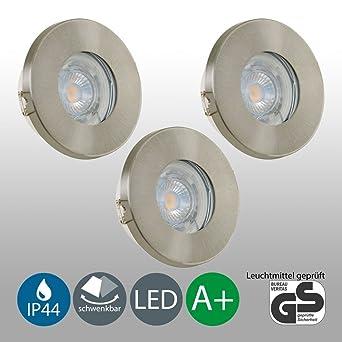 GadgetsForYou! 3 LED Einbau-Strahler Badezimmer Einbau-Leuchten ...