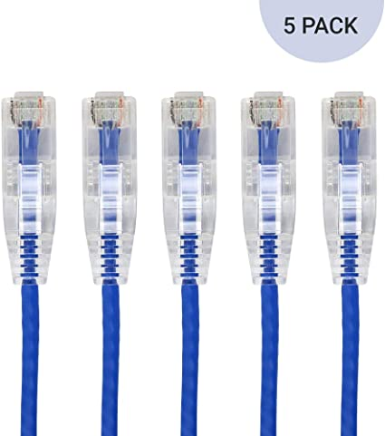 UL Listed Stranded Bare Copper RJ45 Snagless 550MHz 28AWG-25ft 5-Pack Blue BV-Tech Slim Cat6 Ethernet Patch Cable