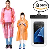 Rain Ponchos 6, 8 Pack for Adults&Child Family Combo With Cellphone Waterproof Case,Assorted Colors, Hood and Full Sleeves, One Size Fits All