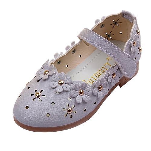 M&A Zapatos Mocasines de Cuero Niña Princesa Primavera Flor Huecos Verano Moda Nuevo 21-30
