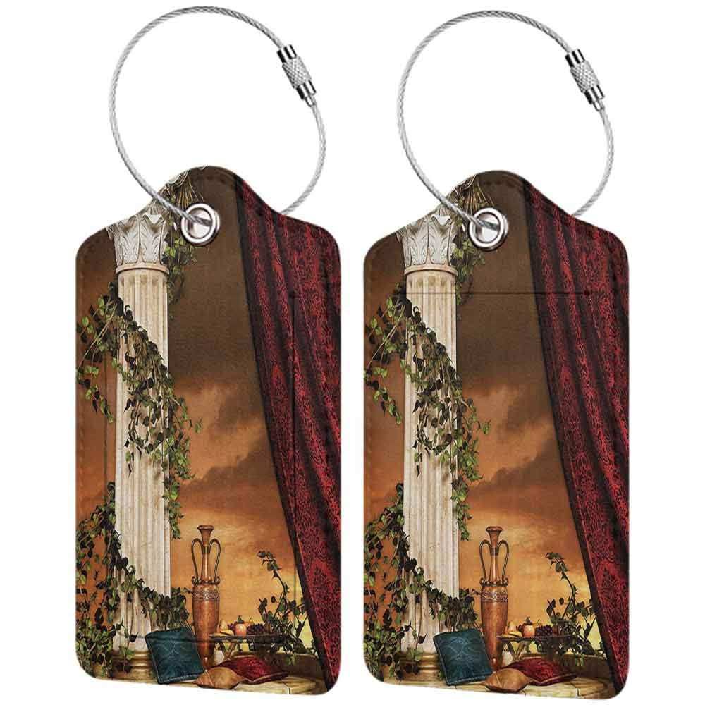 Flexible luggage tag Gothic Greek Style Scene Climber Pillow Fruits Vine and Red Curtain Ancient Figure SunMulticolor Fashion match W2.7 x L4.6