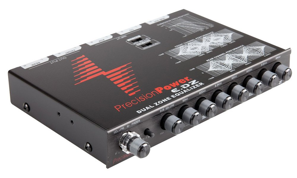 Precision Power E.DZ 7-Band Dual Zone Graphic Equalizer with Auxiliary Input and Independent Subwoofer Control