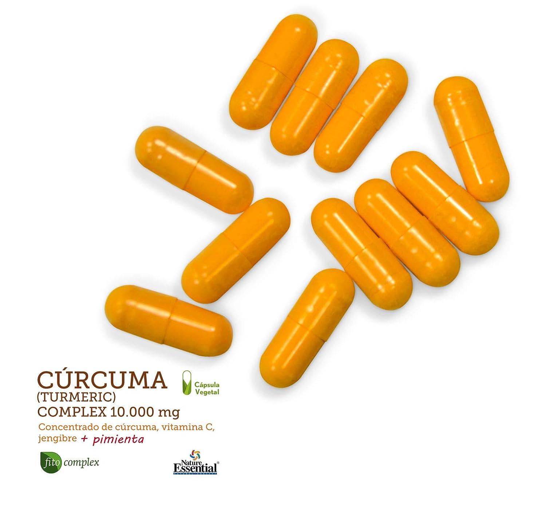 Curcuma (Turmeric) Complex 10.000 mg – Con cúrcuma, vitamina C, jengibre y pimienta negra – 60 Capsulas vegetales. (2 Unidades)