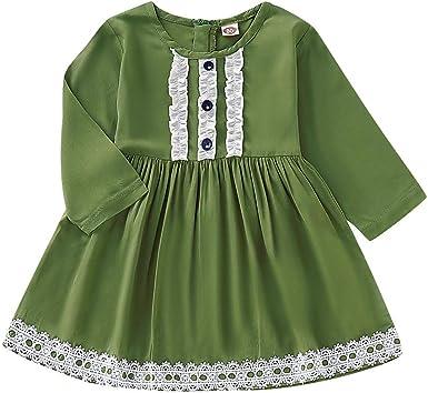 Julhold - Abrigo de Manga Larga de algodón para niñas y niños de 1 a 6 años Verde 2-3 Años: Amazon.es: Ropa y accesorios