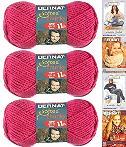 Bernat Softee Chunky Yarn Bundle ,Super Bulky #6, 3 Skeins Hot Pink 28416