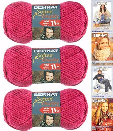 Bernat Softee Chunky Yarn Bundle ,Super Bulky #6, 3 Skeins Hot Pink 28416