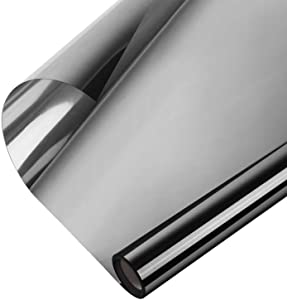 One Way Window Film, 23.6In x 6.56ft, WochiTV Daytime Privacy Window Tint for Home House, Non Adhesive Static Cling Anti UV Heat Control Glass Film Reflective Mirror Tint Black-Silver