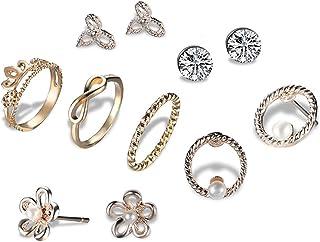 Lubier giunti anello orecchini con perno regolabile anelli matrimonio gioielli per donne fidanzata