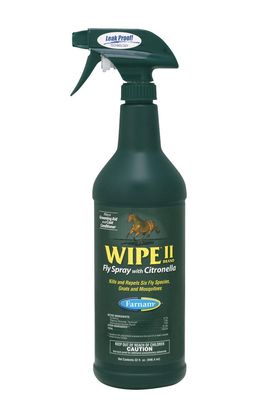 Farnam Wipe II Fly Spray with Citronella, 32 fl. oz. by Farnam