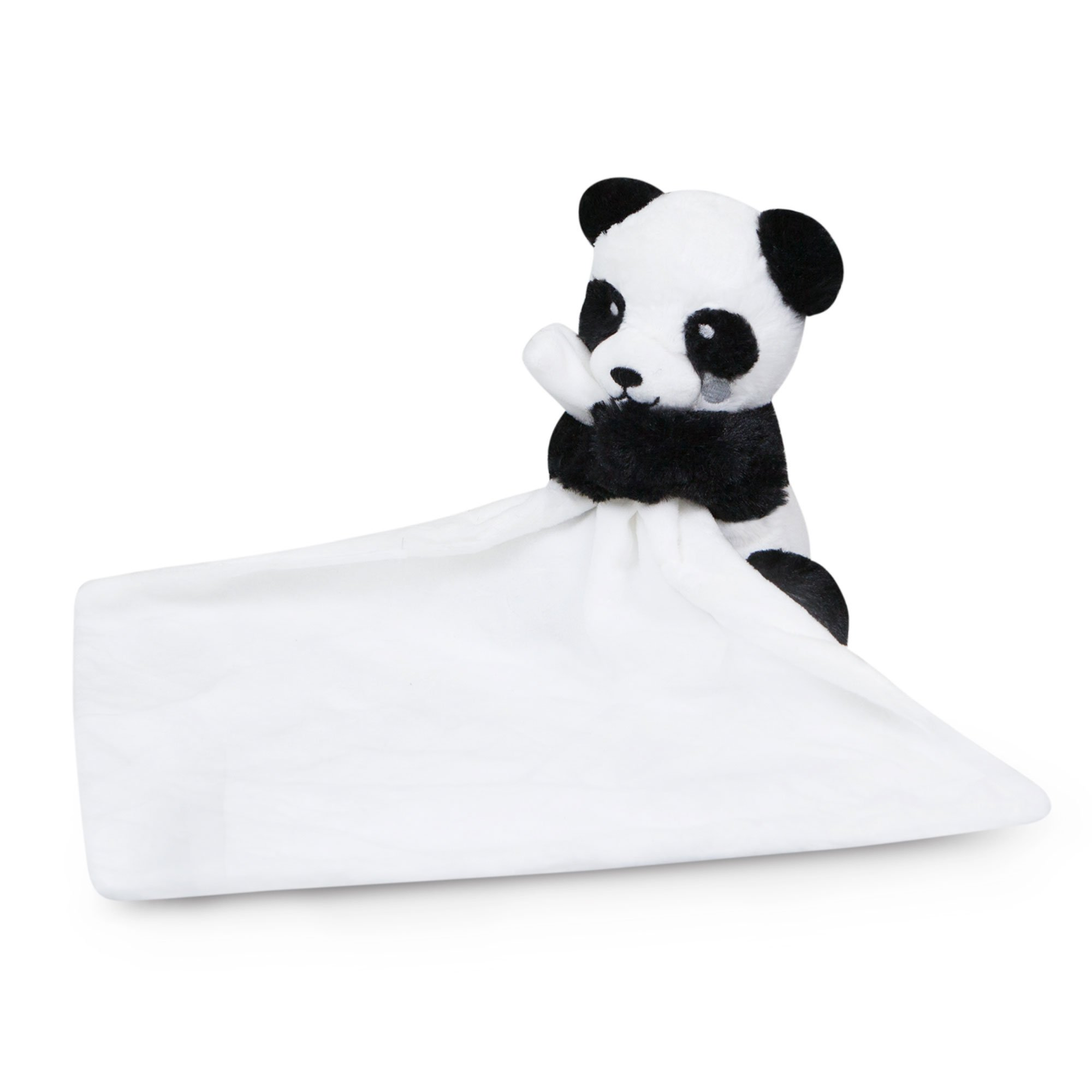 Waddle Panda Stuffed Animal Unisex Baby Blanket Rattle Toy Lovey Black and White