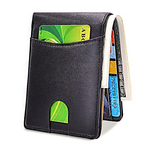 Outside Card Pocket (Mens Front Pocket Wallets Bifold RFID Genuine Leather Wallet ID Window Card Holder (Black))