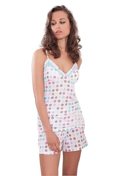 Admas - Pijama Corto Para Mujer Topos, Color Azul, Talla M