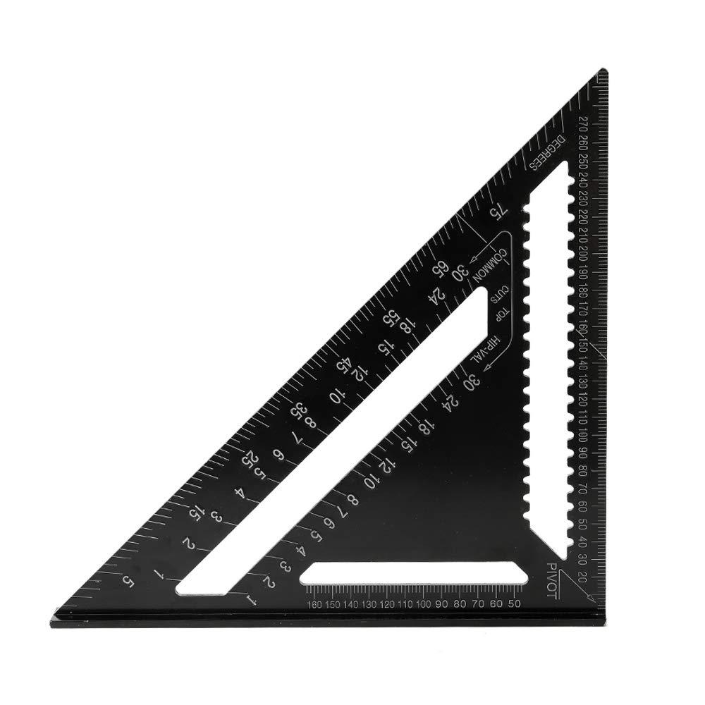 Zitainn Reglas de tri/ángulo de aleaci/ón de aluminio 90 grados 45 grados Regla cuadrada m/étrica cuadrada de 12 pulgadas cuadrada