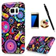 S7 Edge Case,Samsung Galaxy S7 Edge Case - Shockproof Soft TPU Rubber Skin Gel Bumper Ultra Slim-Fit Colorful Floral Cover with HD Screen Protector & Dust Plug & Stylus Pen by Badalink - Jellyfishes