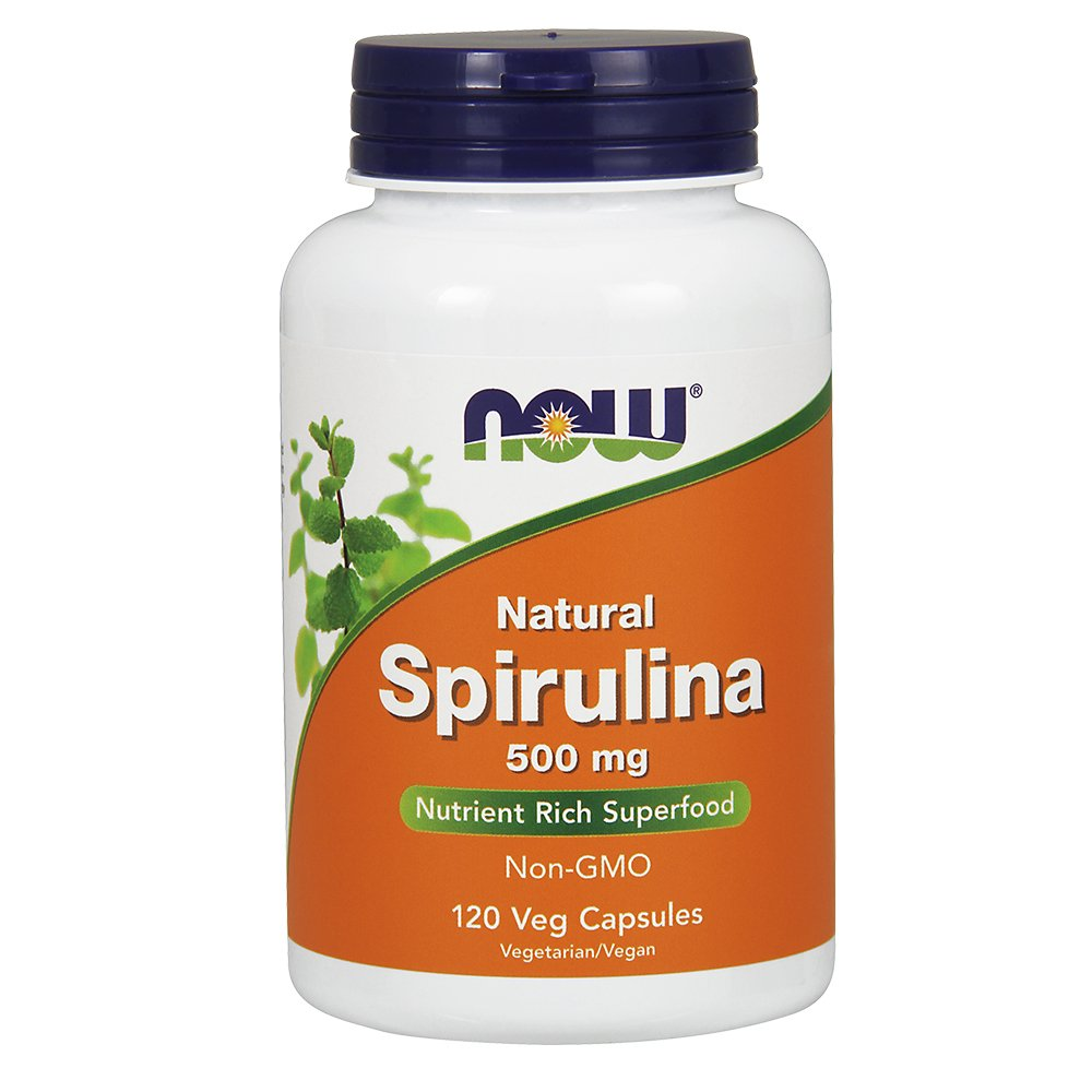 NOW  Spirulina 500mg,120 Veg Capsules