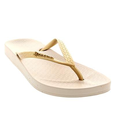 Ipanema Womens Tropical Vacation Beach Thongs Slip On Sandals Flip Flops -  Beige Gold - 6805f0d619