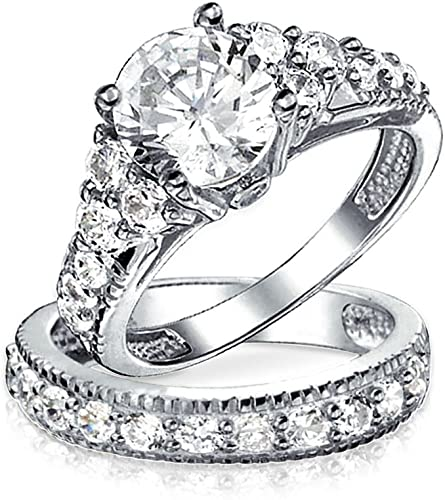 Womens Ladies Silver Plated Promise Ring Wedding Bands Retro Smooth White Crystal CZ Size 6 Aooaz Jewelry