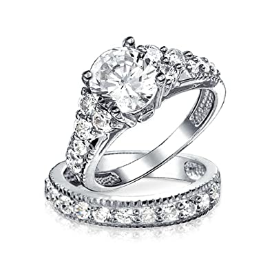 3 Piece 2ct Round White AAA CZ Genuine 925 Sterling Silver Wedding Engagement Ring Set Size J to Y hbIYQ
