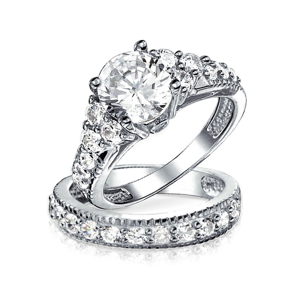 Sterling Silver Deco Style 4 Prong CZ Wedding Ring Set