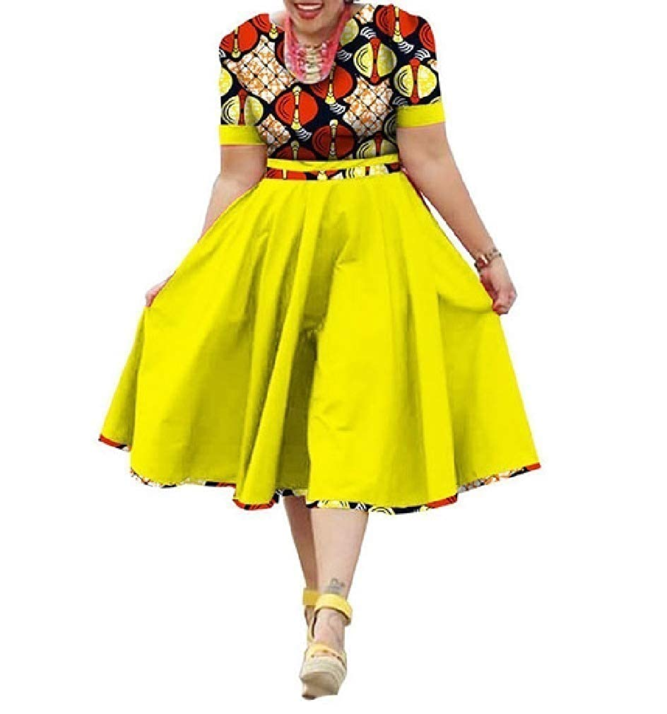 12 HEFASDM Women's PlusSize Midi Floral African Print Swing Mid Length Dresses