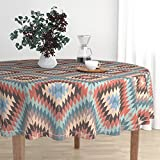 Roostery Round Tablecloth - Kilim Warm Tribal Southwest by Willowlanetextiles - Cotton Sateen Tablecloth 70in