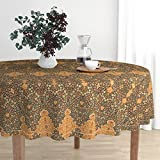 Roostery Round Tablecloth - Renaissance Turkish Islamic Persian Victorian Damask Moroccan by Muhlenkott - Cotton Sateen Tablecloth 70in