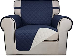 PureFit Reversible Quilted Sofa Cover, Water Resistant Slipcover Furniture Protector, Washable Couch Cover with Non Slip Foam and Elastic Straps for Kids, Dogs, Pets (Chair, Navy/Ivory)