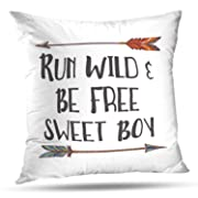 ONELZ Run Wild Be Free Sweet Boy with Arrow Square Decorative Throw Case, Fashion Style Zippered Cover (16X16 inch)