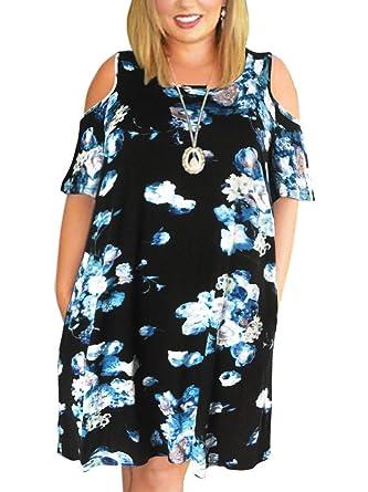 d9133fc4ff00 Nemidor Women's Cold Shoulder Plus Size Casual T-Shirt Swing Dress with  Pockets (18