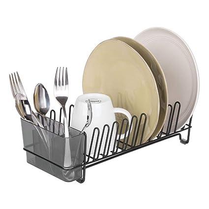 mDesign – Escurridor de platos de acero inoxidable – Escurreplatos de plástico con cubertero – Elegante escurrecubiertos para vajilla – Hasta 15 ...