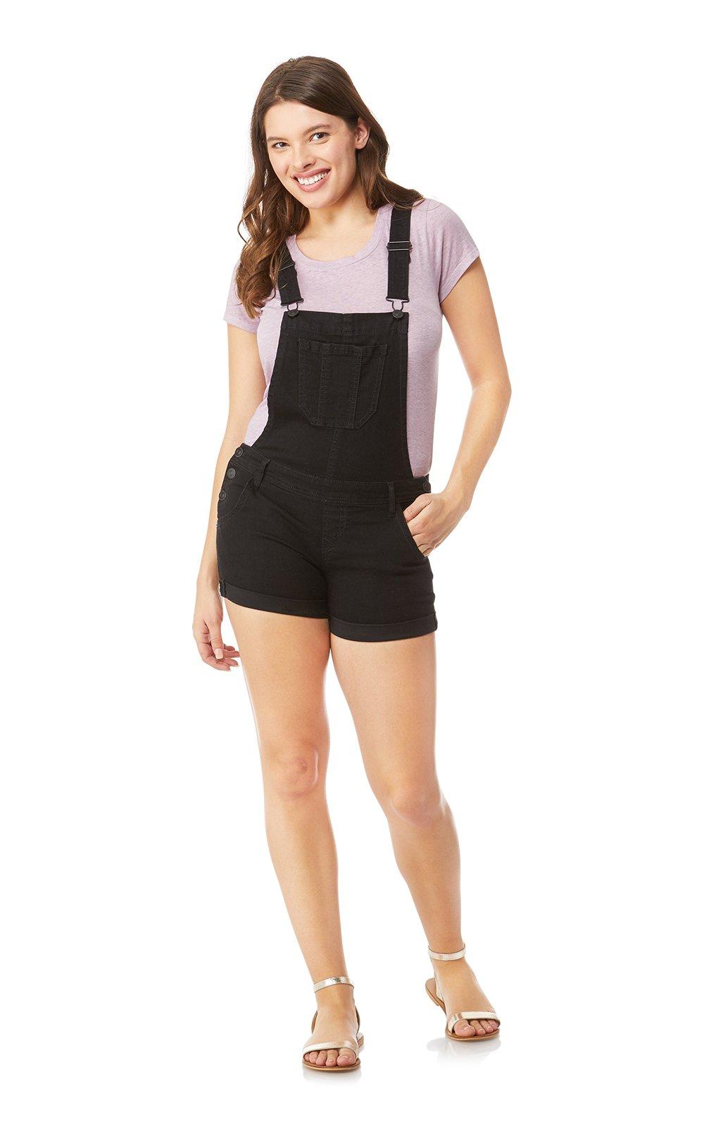 WallFlower Women's Juniors Denim Shortalls in Black, Large