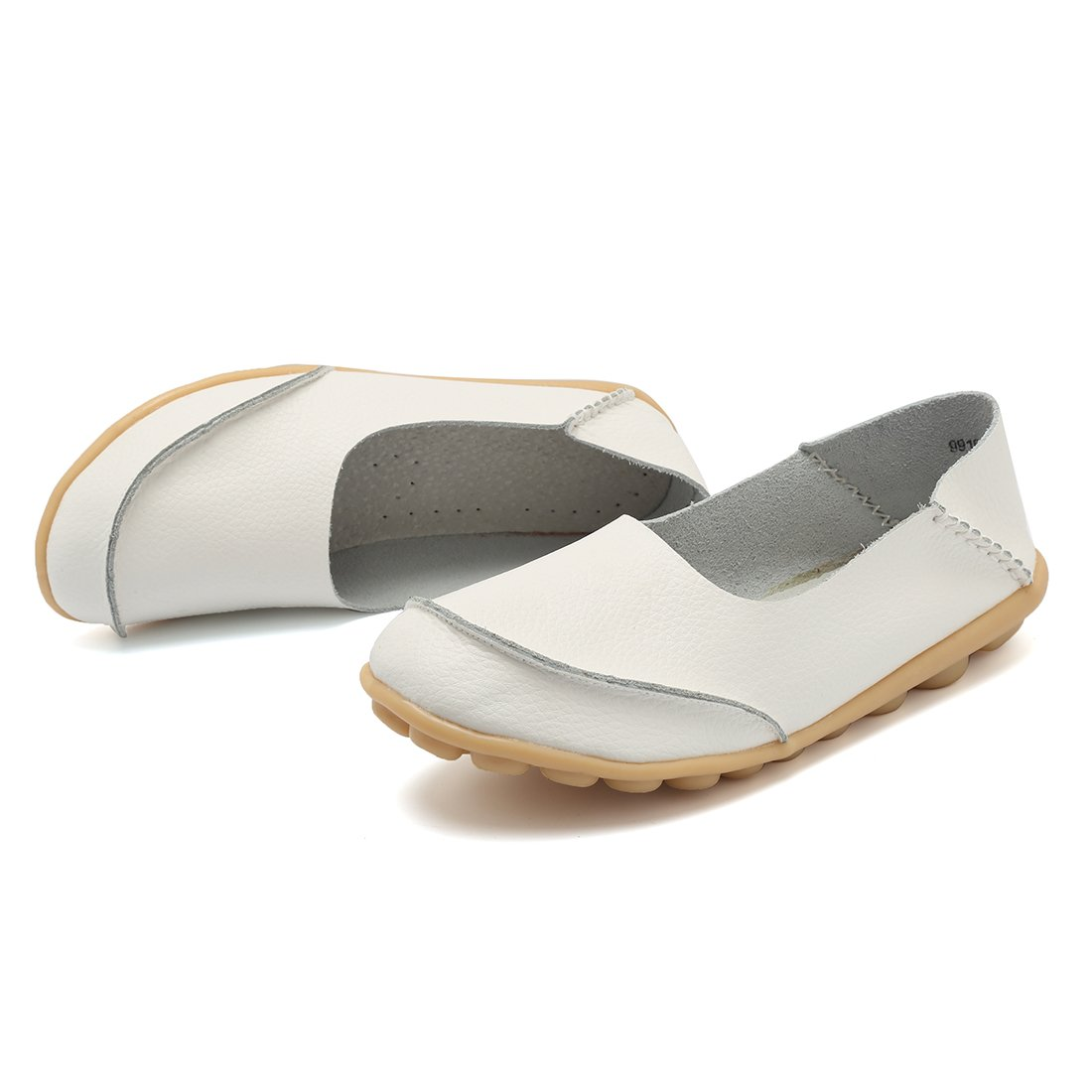 KISFLY Soft Leather Slip on White Loafers Size 7 Breathable Lightweight Shoes Moccasins Wild Driving Casual Flats