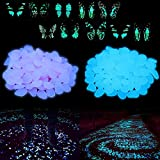 Superlady 300pcs Blue and purple Glowing Pebbles with 10 glowing butterfly as gift. for walkway, bonsai, aquarium