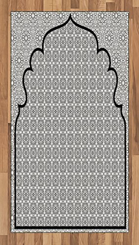 Moroccan Area Rug by Ambesonne, Arabian Art Background with a Group of Traditional Turkish Ottoman Forms Patterns, Flat Woven Accent Rug for Living Room Bedroom Dining Room, 2.6 x 5 FT, Black White by Ambesonne