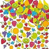 Baker Ross Lot de 120 Autocollants en Mousse - Motif Fruit - Apprendre à connaitre une variété de fruits tout en s'amusant