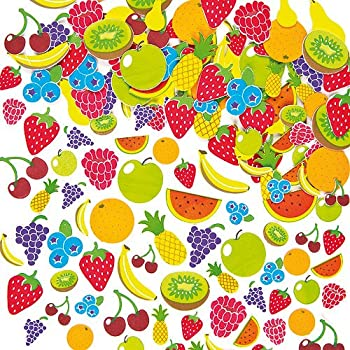 Fruit Foam Stickers Self-Adhesive Shapes Kid's Craft Embellishments for Decorating & Card Making Scrapbooking(Pack of 120)
