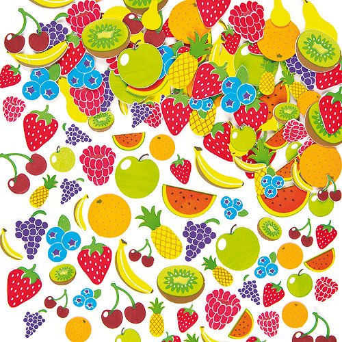 (Baker Ross Fruit Foam Stickers Self-Adhesive Shapes Kid's Craft Embellishments for Decorating & Card Making Scrapbooking (Pack of 120) )
