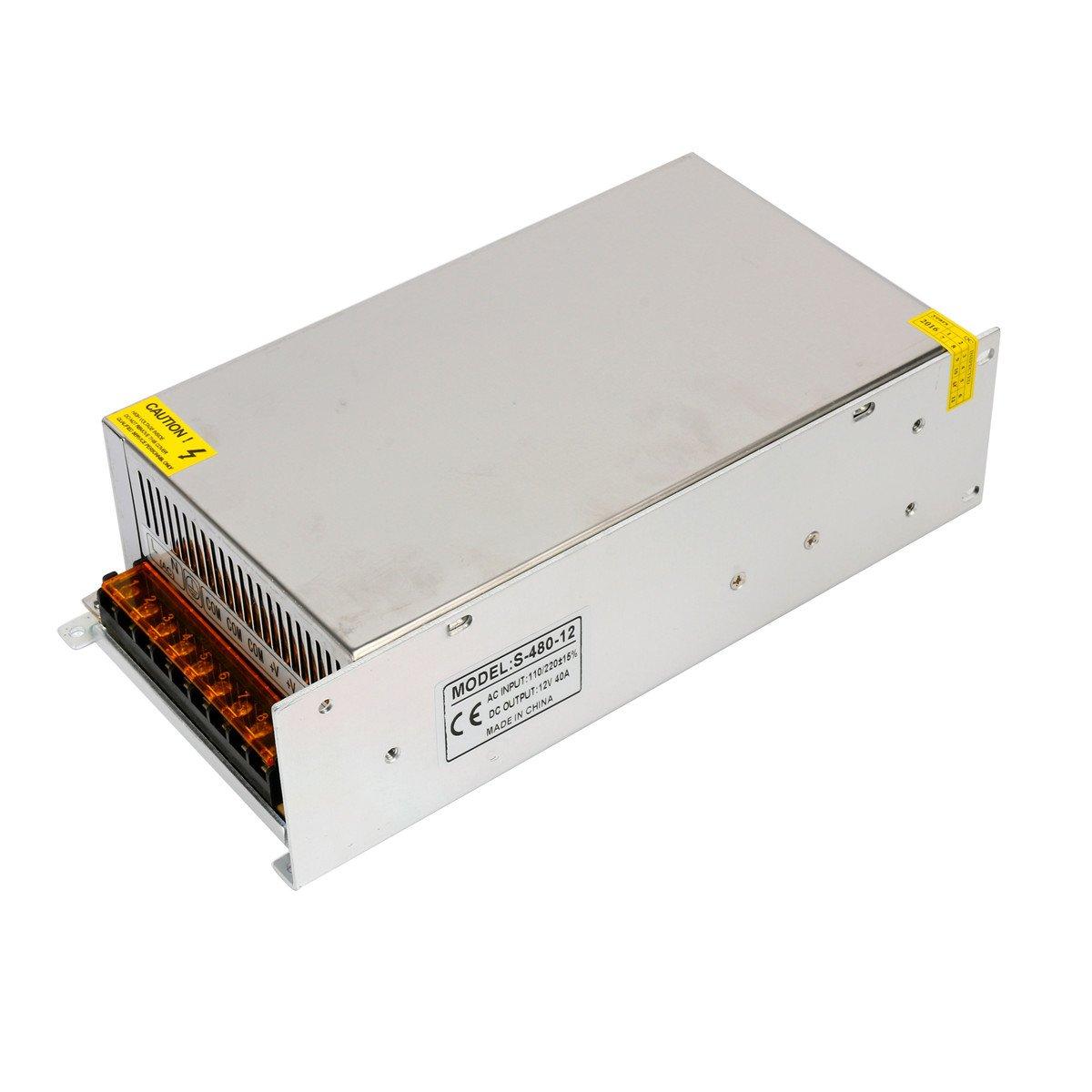 Yaetek AC110V/220V to DC12V 40A 480W Switch Power Supply Driver for LED Light