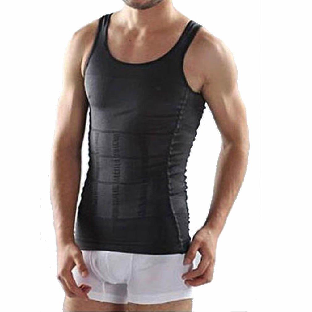 c7c614a614 Amazon.com  Men s Shaper Slimming Undershirts T-shirt Elastic Body Sculpting  Vest