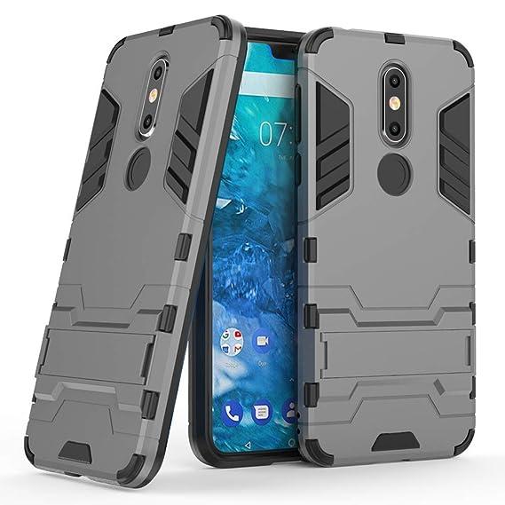 low priced c62d8 061e1 Nokia 7.1 case, MAIKEZI Dual Layer Armor Hard Slim Hybrid Kickstand Phone  Cover Case for Nokia 7.1 (Gray Kickstand Case)