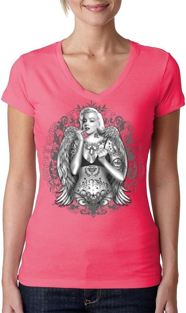 Fun Girlie V de Cuello Camiseta – Pin Up: Marilyn Monroe with Wings and Tattoos by en de Camiseta Light-Pink Small: Amazon.es: Ropa y accesorios